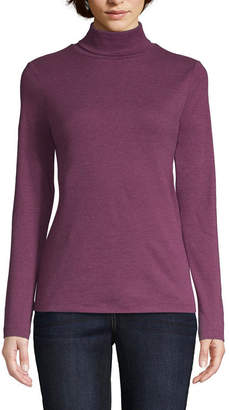 ST. JOHN'S BAY Long Sleeve Turtleneck T-Shirt-Womens