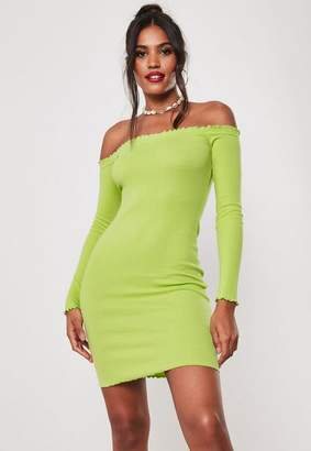 Missguided Neon Lime Ribbed Lettuce Hem Bardot Mini Dress