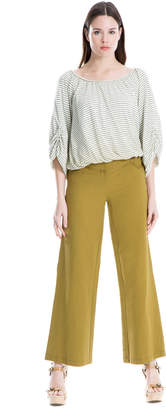 Max Studio slub cotton wide-leg trousers