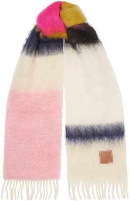 Loewe Striped Fringed Brushed Mohair And Wool-blend Scarf - White