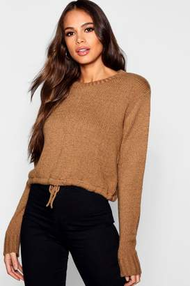 boohoo Tall Ruched Hem Soft Knit Sweater