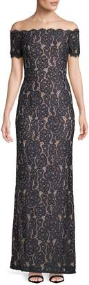 Adrianna Papell Women's Off-The-Shoulder Lace Gown