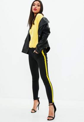 Missguided Anarchy Mid Rise Skinny Side Stripe Jeans