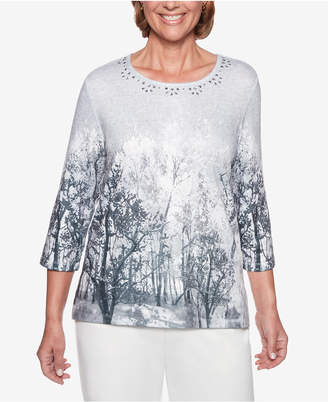 Alfred Dunner Stocking Stuffers Embellished-Neck Tree-Print Top