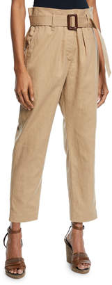 Brunello Cucinelli Paperbag-Waist Belted Linen-Cotton Ankle Pants