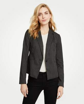 Ann Taylor Sketched Plaid One Button Jacket
