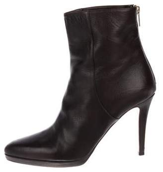 Jimmy Choo Leather Round-Toe Ankle Boots Brown Leather Round-Toe Ankle Boots