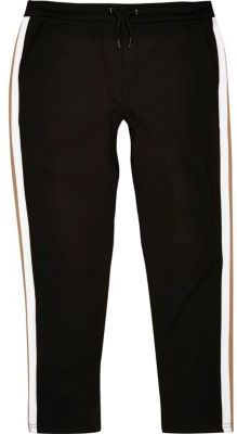 River Island Mens Black side stripe joggers $56 thestylecure.com