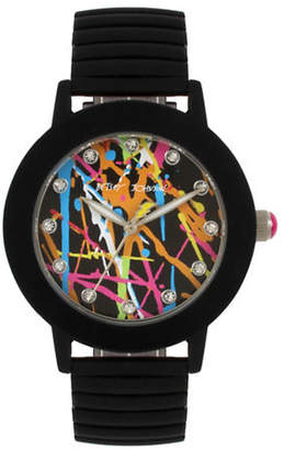 Betsey Johnson Analog Graffiti Black Rubberized Stainless Steel Band Watch