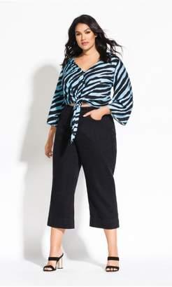 City Chic Citychic Zebra Tie Top - black