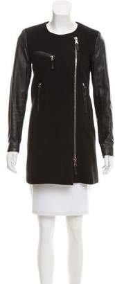 Milly Leather Accented Wool Coat