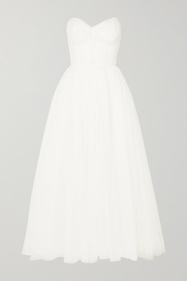 Monique Lhuillier Brie Strapless Ruched Swiss-dot Tulle Gown - Ivory