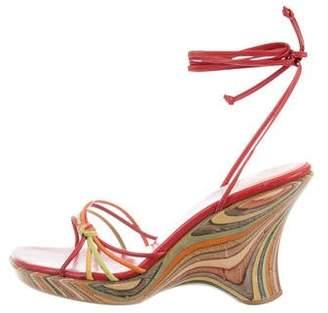 Stuart Weitzman Wrap-Around Wedge Sandals