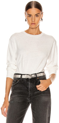 John Elliott Long Sleeve Cropped Tee in White | FWRD