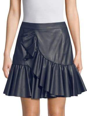 Rebecca Taylor Ruffle Faux Leather Mini Skirt