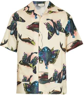 Gucci Fish-print short-sleeved silk-satin twill shirt