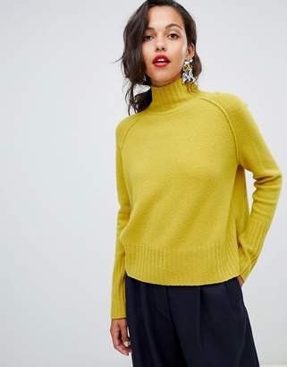 Whistles funnel neck sweater in yellow