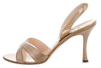 Manolo Blahnik Metallic Lizard Sandals