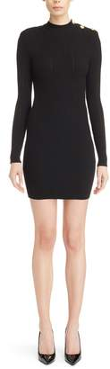 Balmain Long Sleeve Fitted Knit Dress