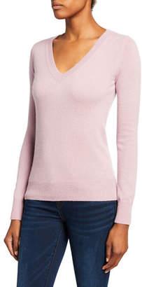 Neiman Marcus Plus Size Basic Cashmere V-Neck Sweater