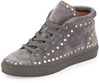Laurence Dacade Hugh Studded Suede Mid-Top Sneaker, Dark Gray $995 thestylecure.com