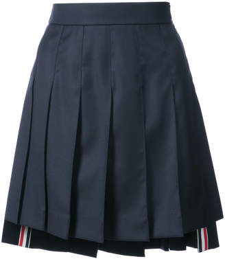 Thom Browne Dropped-Back Mini Pleated Skirt in Navy Super 130's Wool Twill