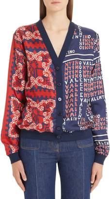 Valentino Mixed Print Cardigan