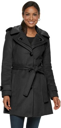 London Fog Tower By Women's TOWER by Hooded Belted Wool Blend Coat