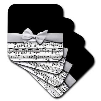 3dRose Stylish musical notes faux ribbon and bow - black and white sheet music girly classy elegant design, Ceramic Tile Coasters, set of 4