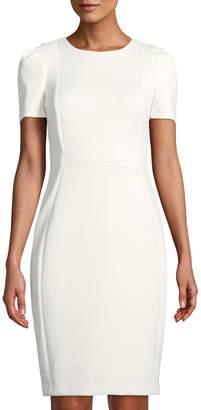 Iconic American Designer Puff-Sleeve Crepe Sheath Dress