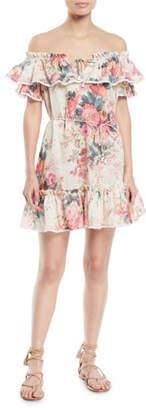 Zimmermann Laelia Off-the-Shoulder Floral-Print Frill Tier Mini Dress