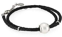 Majorica Amazona Braided Double Wrap Imitation Pearl& Leather Bracelet
