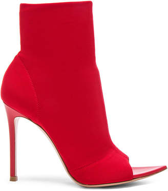 Gianvito Rossi Osaka & Leather Gotham Peep Toe Ankle Boots