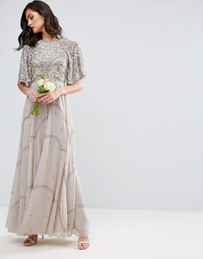 Asos ASOS WEDDING Embellished Floral Flutter Sleeve Maxi Dress