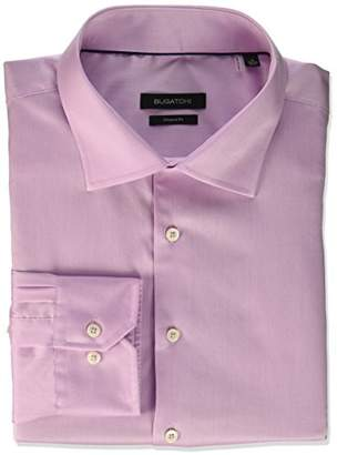 Bugatchi Men's Shaped Fit Spread Collar Solid Dress Shirt