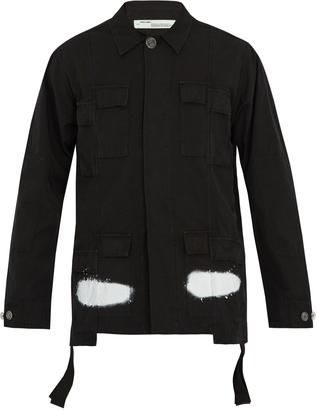OFF-WHITE Logo-print cotton jacket $731 thestylecure.com