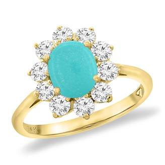 Sabrina Silver 14K Yellow Gold Diamond Natural Turquoise Engagement Ring Oval 8x6 mm, size 7