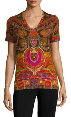 Etro 50th Anniversary V-Neck Printed T-Shirt