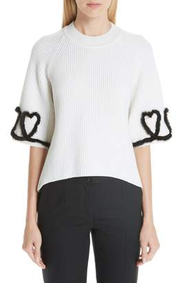 Fendi Scribble Heart Sweater with Genuine Mink Fur Trim