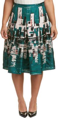 Marina Rinaldi Plus Casella Silk A-Line Skirt