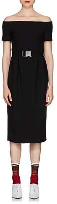 Fendi Women's Wool Crepe Off-The-Shoulder Dress