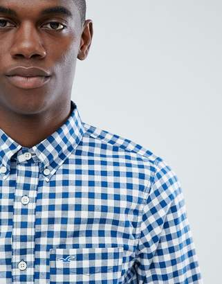 Hollister poplin gingham check shirt slim fit button down seagull logo in blue
