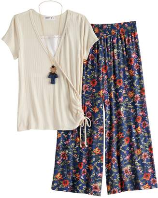 Knitworks Girls 7-16 & Plus Size Ruched Top & Floral Pants Set