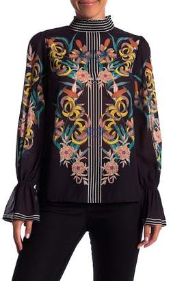 Flying Tomato Patterned Flare Sleeve Blouse