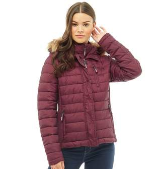 Superdry Womens Fuji Slim Double Zip Hooded Jacket Deep Plum Marl