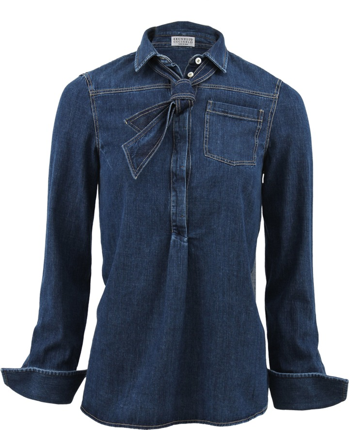 Brunello Cucinelli Pullover Denim Blouse with Tie