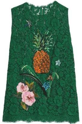 Dolce & Gabbana Appliquéd Corded Lace Top