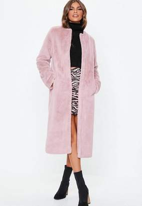 Missguided Pink Collarless Longline Faux Fur Coat
