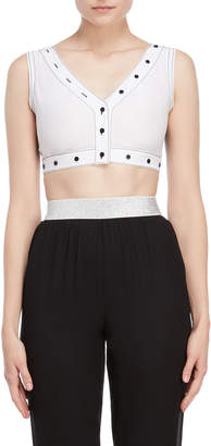 I'M Isola Marras Button Trim Graphic Crop Top