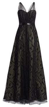 Rene Ruiz Illusion Metallic Tulle Gown